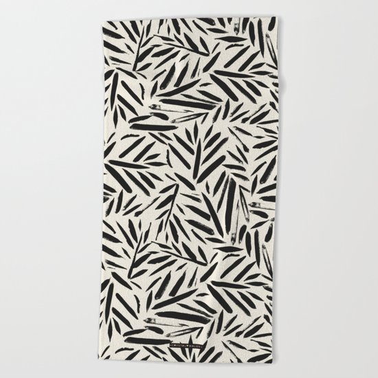 Not So Black and white leaves Beach Towel