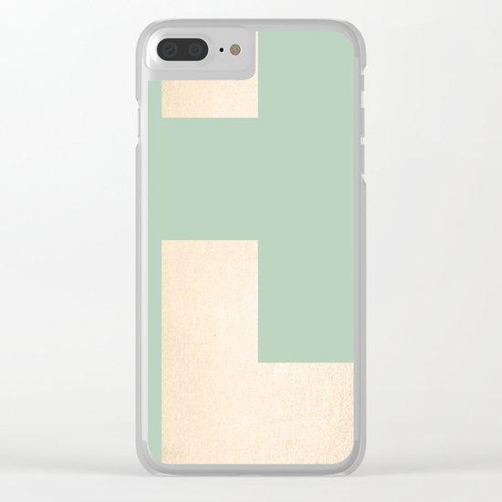 Simply Geometric White Gold Sands on Pastel Cactus Green Clear iPhone Case