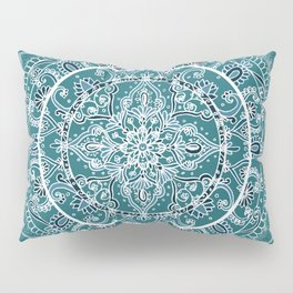 Detailed Teal and Blue Mandala Pattern Pillow Sham