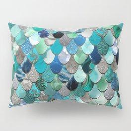 Mermaid Sea, Teal, Aqua, Silver, Grey Pillow Sham
