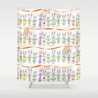 bunnies Shower Curtains featuring Bunnies by Anchobee
