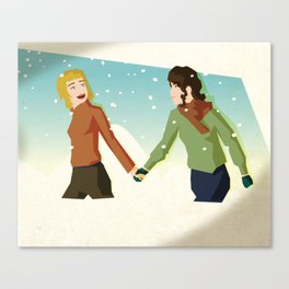 Excited In The Snow Canvas Print