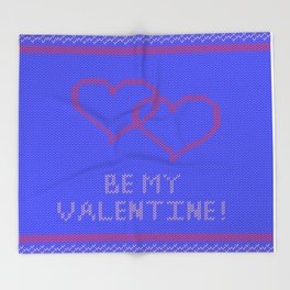 Knitted background with hearts Throw Blanket