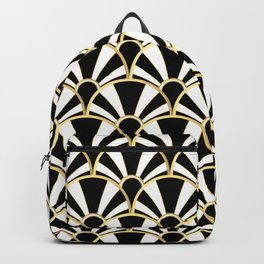 Black, White and Gold Classic Art Deco Fan Pattern Backpack