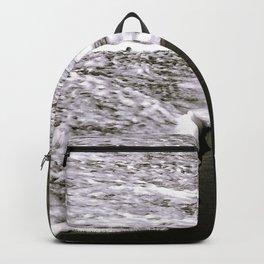 Exotic White Ocean Surf On Black Sand Beach Backpack