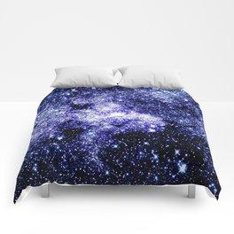 Galaxy Sparkle Stars Purple Blue Teal Comforters