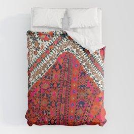 Pink Wildflower Sunshine III // 18th Century Colorful Pinkish Red Blue Sapphire Metallic Happy Patte Comforters