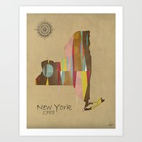 new york map Art Prints featuring new york state map by bri.buckley