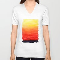 sunset V-neck T-shirts featuring Sunset by Timone