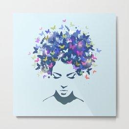 Woman Butterfly Metal Print