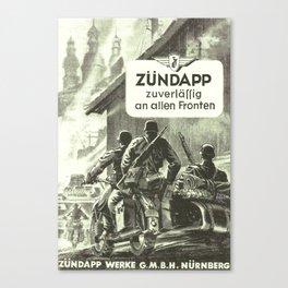 Zündapp Vintage German Motorcycle Advertisement Canvas Print