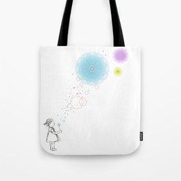 A girl art print with soap ballon Tote Bag