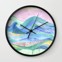 Watercolor abstarct sea and mountans background Wall Clock