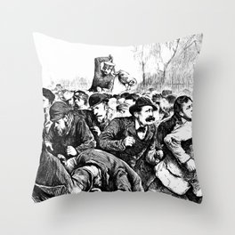 Tompkins Square Riot of 1874 Throw Pillow