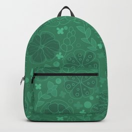 botanical green succulent plants abrstract pattern Backpack