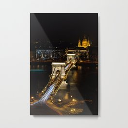 Szechenyi Chain bridge over Danube river, Budapest, Hungary. Metal Print