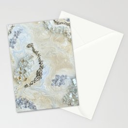 Neutral Glam Abstract Agate Geode Crystal Painting Stationery Cards