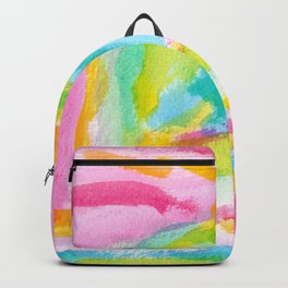 Dream on no.0 Colorful Abstract Painting Pink Modern Art Colorful Brush Art Backpack