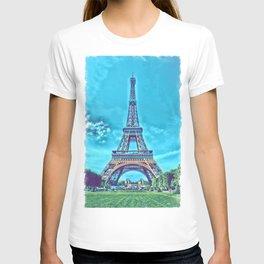 Eiffel tower in paris with cartoon artwork T-shirt