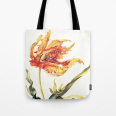 V. Vintage Flowers Botanical Print by Anna Maria Sibylla Merian - Parrot Tulip Tote Bag