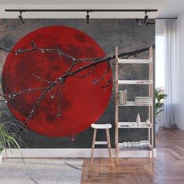Modern Blood Red Moon Rain Gothic Decor A175 Wall Mural