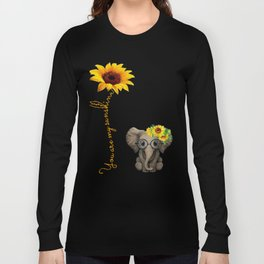 You Are My Sunshine Hippie Sunflower Elephant Long Sleeve T-shirt