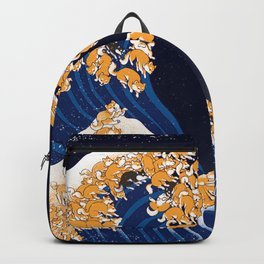 Shiba Inu The Great Wave in Night Backpack