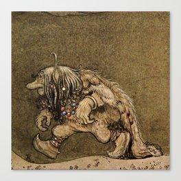 """Farm Troll"" Watercolor by John Bauer Canvas Print"