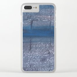Gray-blue watercolor Clear iPhone Case