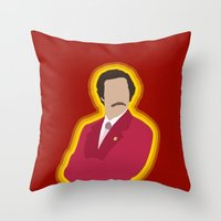 anchorman Throw Pillows featuring Ron Burgundy: Anchorman by The Vector Studio