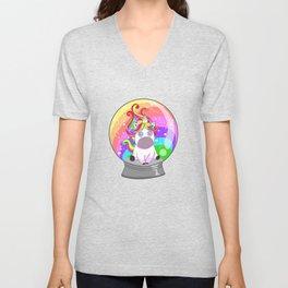 Unicorn Snow Globe Colorful Rainbow Mythical Creature Unisex V-Neck