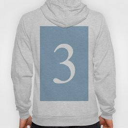 number three sign on placid blue color background Hoody