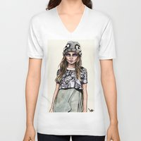 ben giles V-neck T-shirts featuring Cara for Giles 14/15 by vooce & kat