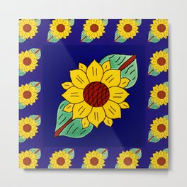 TALAVERA MEXICAN TILE WITH A SUNFLOWERS Metal Print