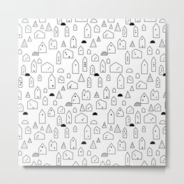 LITTLE HOUSES ((black on white)) Metal Print