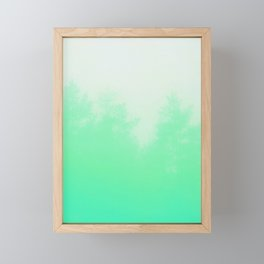 Out of focus - cool green Framed Mini Art Print