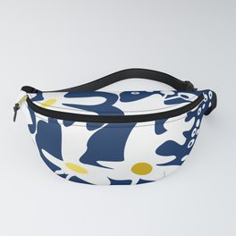 Blue jungle: Organic shapes and flowers Fanny Pack