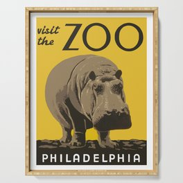 Vintage Visit The Zoo Hippo Serving Tray