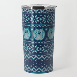 Owls winter knitted pattern Travel Mug