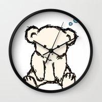 teddy bear Wall Clocks featuring Teddy by RaJess