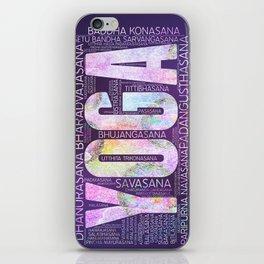Yoga Asanas  Word Art  on Purple iPhone Skin