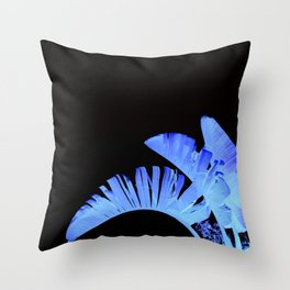 Neon Glow Tropical Palm Fronds Throw Pillow