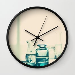 Crystal jars and bottles (Retro and Vintage Still Life Photography) Wall Clock