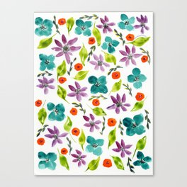 Teal and Purple Flowers Canvas Print