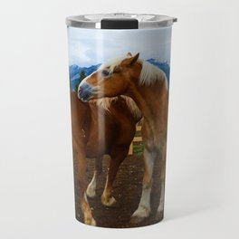 Horses in Jasper National Park, Canada Travel Mug