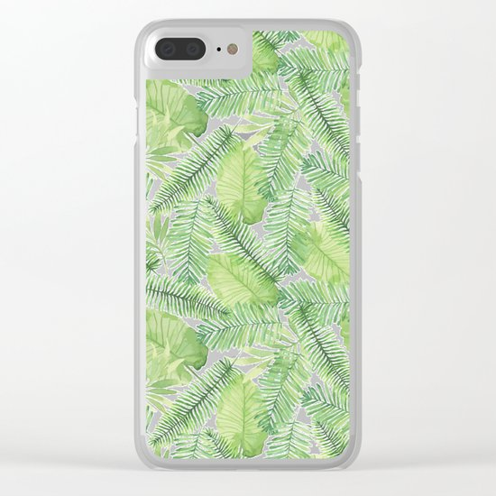 Tropical Branches Pattern 02 Clear iPhone Case