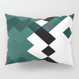 Emerald Green White Black Geometrical Pattern Pillow Sham