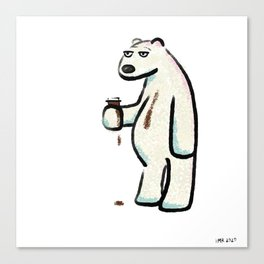 Coffee Polar Bear Canvas Print