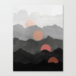 Abstract Mountains // Shades of Black and Grey Landscape Full Metallic Gold Moon Canvas Print