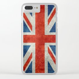 "UK Union Jack flag ""Bright"" retro grungy style Clear iPhone Case"